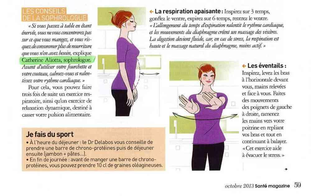 Santé Magazine octobre 2013 nutrition sophrologie