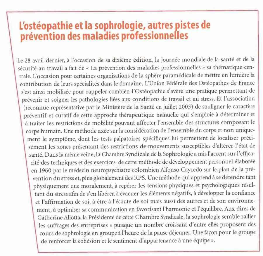 La sophrologie et la prévention des maladies professionnelles